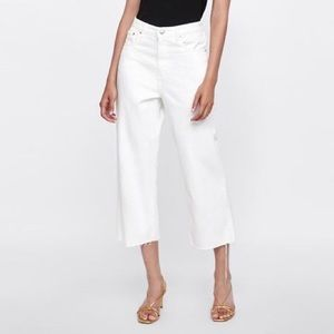 Zara High-Waist Culotte Pure White Jeans